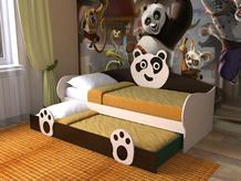Детская кровать с выдвижным местом Панда СлавМебель